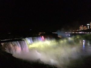 horseshoe falls at night
